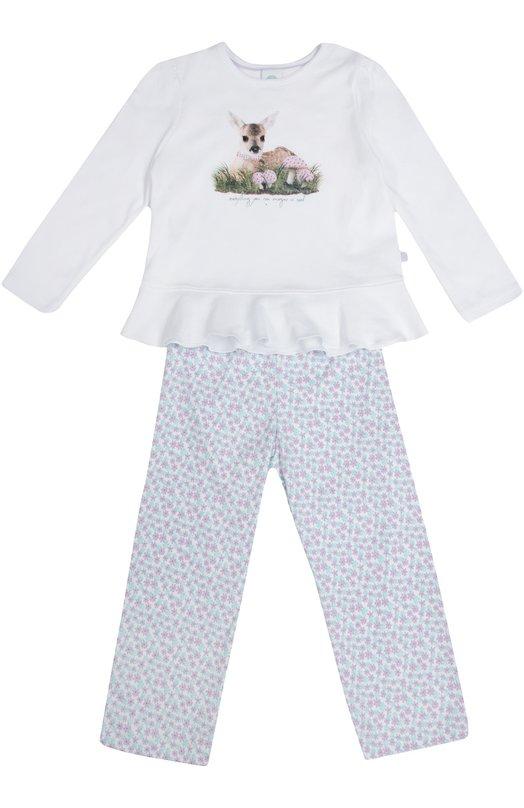 Хлопковая пижама с принтом Sanetta 231828
