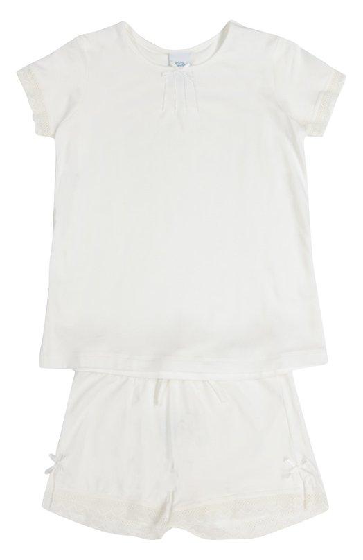Пижама с кружевной отделкой и бантом Sanetta 243689