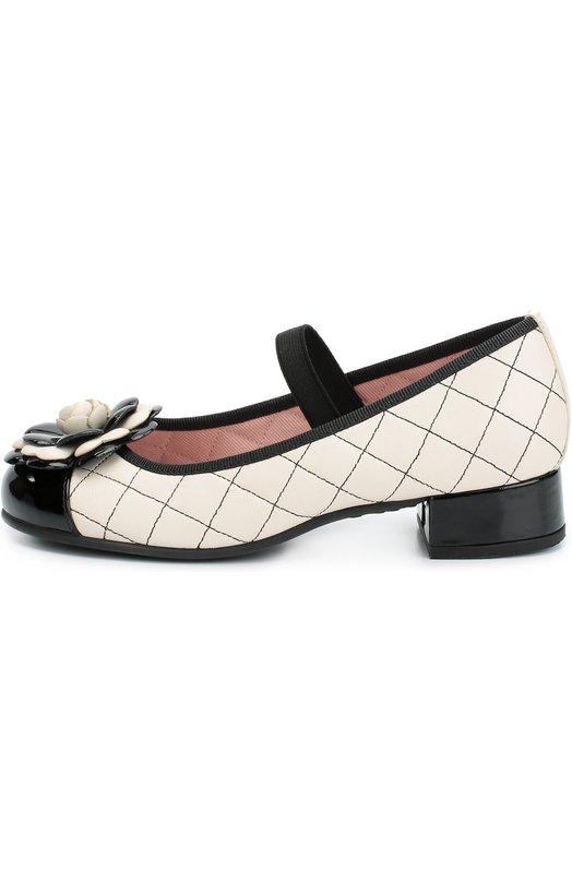 Кожаные стеганые туфли с декором Pretty Ballerinas 44.095/SHADE