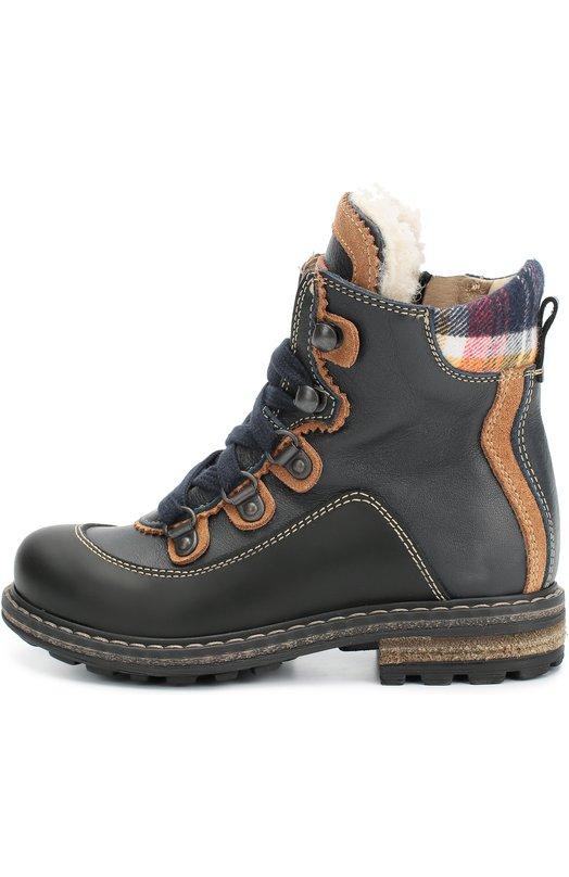 Кожаные ботинки с текстильной вставкой Dsquared2 45472/24-27