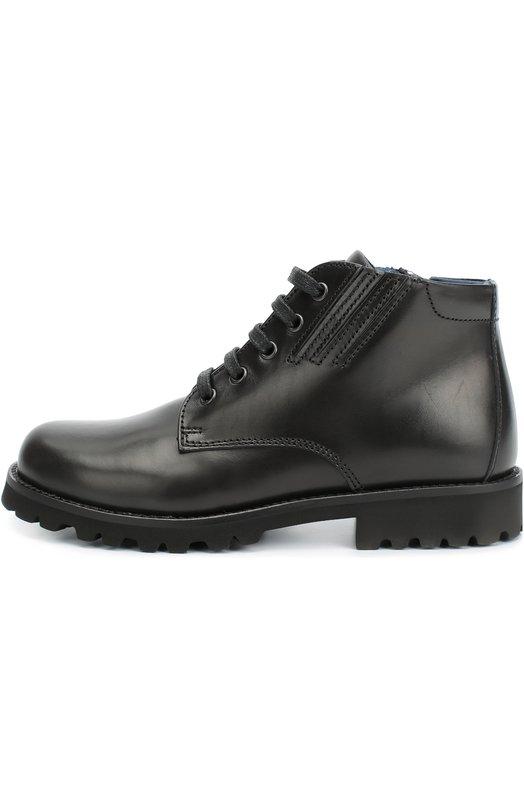 Кожаные ботинки на шнуровке Dolce &amp; GabbanaБотинки<br>В осенне-зимнюю коллекцию 2016 года вошли черные ботинки из гладкой матовой кожи. Обувь с круглым мысом, на широкой подошве и невысоком каблуке завязывается на шнурки. Сбоку также есть молния, и фиксирующая ее застежка велькро.<br><br>Российский размер RU: 32<br>Пол: Мужской<br>Возраст: Детский<br>Размер производителя vendor: 32<br>Материал: Кожа натуральная: 100%; Стелька-кожа: 100%; Подошва-резина: 100%;<br>Цвет: Черный