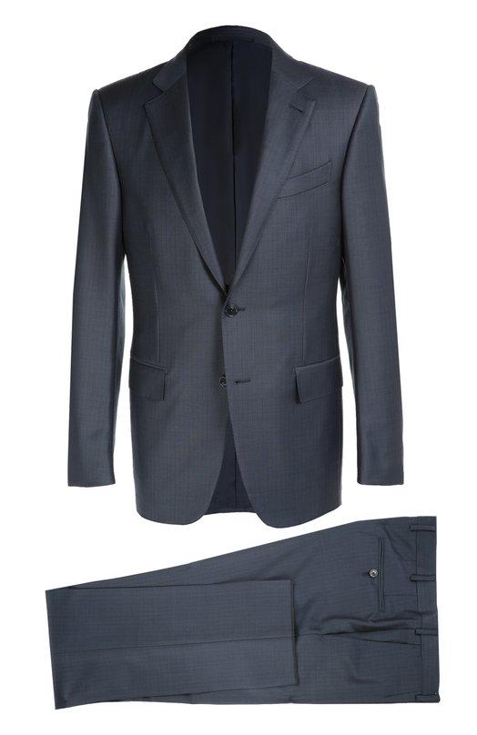 Приталенный шерстяной костюм в клетку Ermenegildo ZegnaКостюмы<br>Костюм темно-синего цвета вошел в осенне-зимнюю коллекцию 2016 года. Мастера бренда, основанного ЭрменеджильдоЗенья, создали приталенный однобортный пиджак и зауженные брюки из тонкой шерстяной ткани в клетку.<br><br>Российский размер RU: 62<br>Пол: Мужской<br>Возраст: Взрослый<br>Размер производителя vendor: 62-R<br>Материал: Шерсть: 100%; Подкладка-купра: 100%;<br>Цвет: Темно-синий