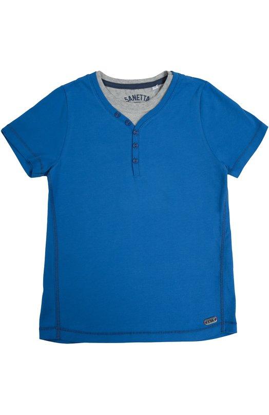 Хлопковая футболка хенли SanettaФутболки<br>Синяя футболка вошла в осенне-зимнюю коллекцию 2016 года. Модель с короткими рукавами сшита из эластичного органического хлопка, не раздражающего кожу. V-образный вырез дополнен пуговицами ивставкой, имитирующей надетую под одежду серую футболку с круглым вырезом.<br><br>Размер Years: 16<br>Пол: Мужской<br>Возраст: Детский<br>Размер производителя vendor: 164cm<br>Материал: Хлопок: 100%;<br>Цвет: Синий