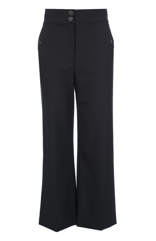 Укороченные расклешенные брюки с завышенной талией Escada SportБрюки<br>Укороченные брюки Thaos вошли в осенне-зимнюю коллекцию 2016 года.Слегка расклешенная модель с завышенной линией талии выполнена из плотной черной ткани с добавлением эластана, поэтому ткань не будет вытягиваться на коленках. Два боковых кармана и пояс застегиваются на кнопки.<br><br>Российский размер RU: 44<br>Пол: Женский<br>Возраст: Взрослый<br>Размер производителя vendor: 36<br>Материал: Полиамид: 88%; Эластан: 12%;<br>Цвет: Черный