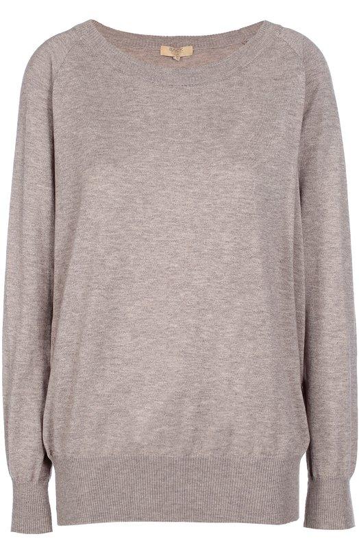 Пуловер свободного кроя с круглым вырезом Back LabelСвитеры<br>В осенне-зимнюю коллекцию 2016 года вошел пуловер сшироким круглым вырезом и длинными рукавами. Вязаное изделие c удлиненной спинкой выполнено из гладкой хлопковой пряжи с добавлениемтонких кашемировых волокон, придающих особую мягкость изделию.<br><br>Российский размер RU: 42<br>Пол: Женский<br>Возраст: Взрослый<br>Размер производителя vendor: S<br>Материал: Хлопок: 85%; Кашемир: 15%;<br>Цвет: Бежевый