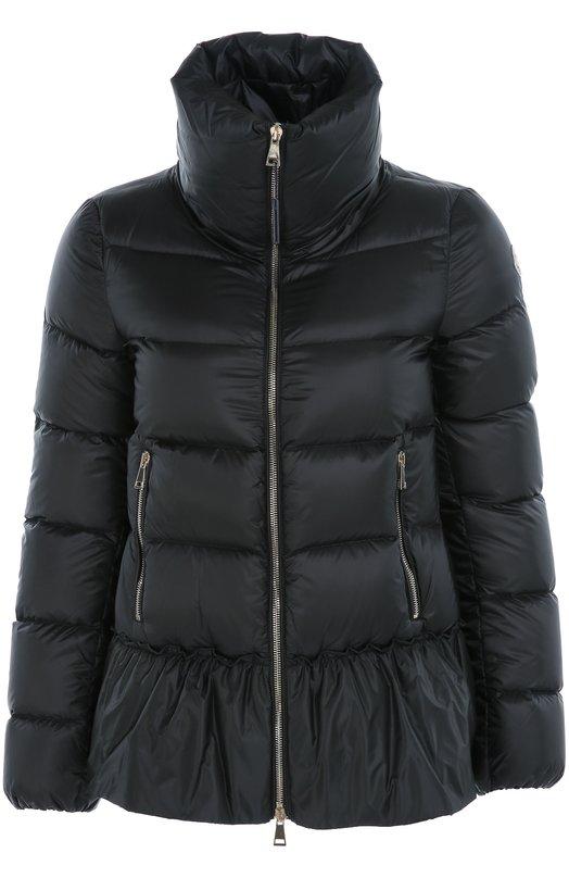 Стеганый пуховик с баской и высоким воротником MonclerКуртки<br>Куртка Anet с высоким воротником-стойкой и баской вошла в коллекцию сезона осень-зима 2016 года. Пуховик из плотного непродуваемого текстиля, обработанного водоотталкивающей пропиткой,застегивается на молнию, как и два врезных боковых кармана.<br><br>Российский размер RU: 42<br>Пол: Женский<br>Возраст: Взрослый<br>Размер производителя vendor: 0<br>Материал: Пух: 90%; Полиамид: 100%; Полиэстер: 100%; Подкладка-полиамид: 100%; Перо: 10%;<br>Цвет: Черный