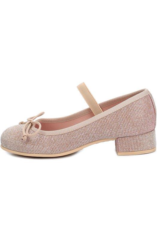 Текстильные туфли с бантом на устойчивом каблуке Pretty BallerinasТуфли<br>Мастера марки изготовили розовые туфли Emma из плотного материала с металлизированной нитью. Обувь на невысоком квадратном каблуке фиксируется на подъеме при помощи эластичного ремешка. Модель вошла в осенне-зимнюю коллекцию 2016 года.<br><br>Российский размер RU: 24<br>Пол: Женский<br>Возраст: Детский<br>Размер производителя vendor: 24<br>Материал: Стелька-кожа: 100%; Подошва-резина: 100%; Текстиль: 100%;<br>Цвет: Розовый