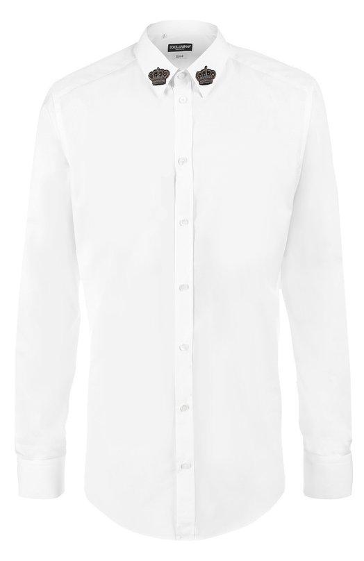 Хлопковая сорочка с вышивкой на воротнике Dolce & Gabbana 0101/G5DM6Z/GE500