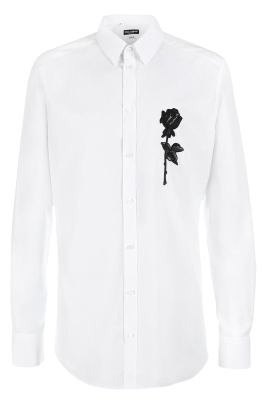 Хлопковая сорочка с вышивкой Dolce & Gabbana 0101/G5DM6Z/GE588