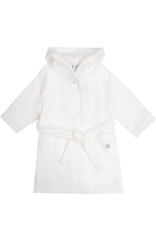 Хлопковый халат с капюшоном и карманами SanettaБельё<br>Для создания махрового халата с длинными рукавами и капюшоном мастера марки использовали мягкий хлопок белого цвета. Модель из коллекции сезона осень-зима 2016 года дополнена двумя накладными карманами и поясом. Левый карман декорирован контрастной вышивкой в виде логотипа бренда.<br><br>Размер Years: 7<br>Пол: Женский<br>Возраст: Детский<br>Размер производителя vendor: 122-128cm<br>Материал: Хлопок: 100%;<br>Цвет: Белый