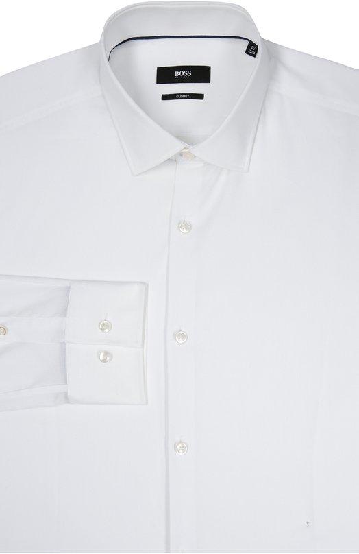 Хлопковая приталенная сорочка BOSSРубашки<br>Белая приталенная рубашка с воротником кент и длинными рукавами вошла коллекцию сезона осень-зима 2016 года. Модель, застегивающаяся на перламутровые пуговицы, сшита из тонкого хлопка. Рекомендуем сочетать с серым галстуком, темно-синим костюмом и черными брогами.<br><br>Российский размер RU: 45<br>Пол: Мужской<br>Возраст: Взрослый<br>Размер производителя vendor: 45<br>Материал: Хлопок: 100%;<br>Цвет: Белый