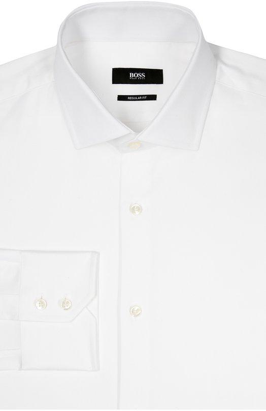Хлопковая сорочка с воротником акула BOSSРубашки<br>Белая рубашка с длинными рукавами, итальянскими манжетами и воротником кент вошла в коллекцию сезона осень-зима 2016 года. Модель прямого кроя выполнена из приятного на ощупь, тонкого гладкого хлопка.<br><br>Российский размер RU: 47<br>Пол: Мужской<br>Возраст: Взрослый<br>Размер производителя vendor: 47<br>Материал: Хлопок: 100%;<br>Цвет: Белый