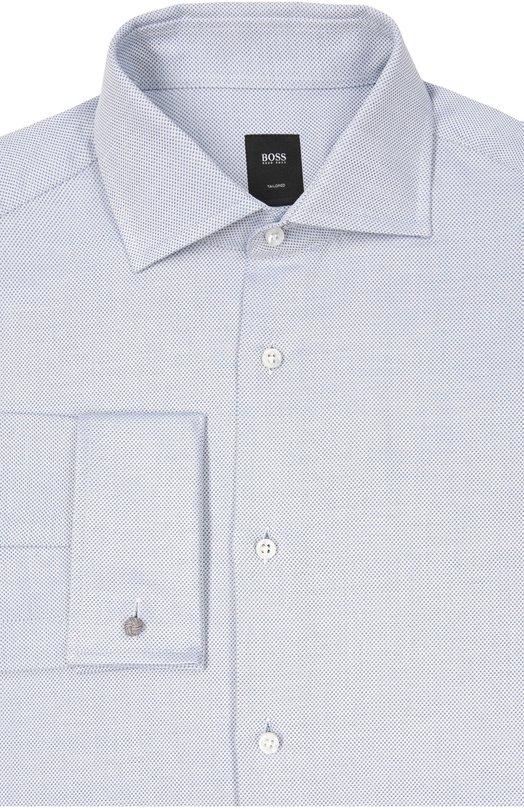 Хлопковая сорочка с воротником кент и французскими манжетами BOSS 50322624