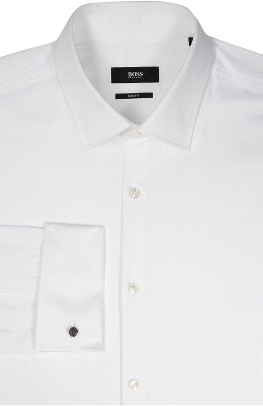 Хлопковая сорочка с воротником кент и французскими манжетами BOSS 50322477