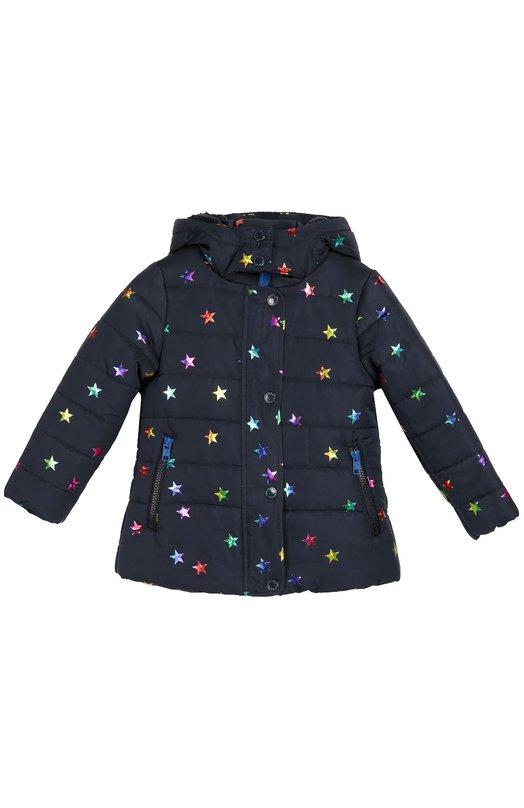 Стеганая куртка с капюшоном Stella McCartneyВерхняя одежда<br>Темно-синяя куртка с капюшоном выполнена из водоотталкивающего гладкого материала с металлизированным разноцветным рисунком в виде звезд. Модель, утепленная флисом, вошла в коллекцию сезона осень-зима 2016 года.<br><br>Размер Years: 10<br>Пол: Женский<br>Возраст: Детский<br>Размер производителя vendor: 140-146cm<br>Материал: Полиэстер: 100%; Подкладка-полиэстер: 100%;<br>Цвет: Синий
