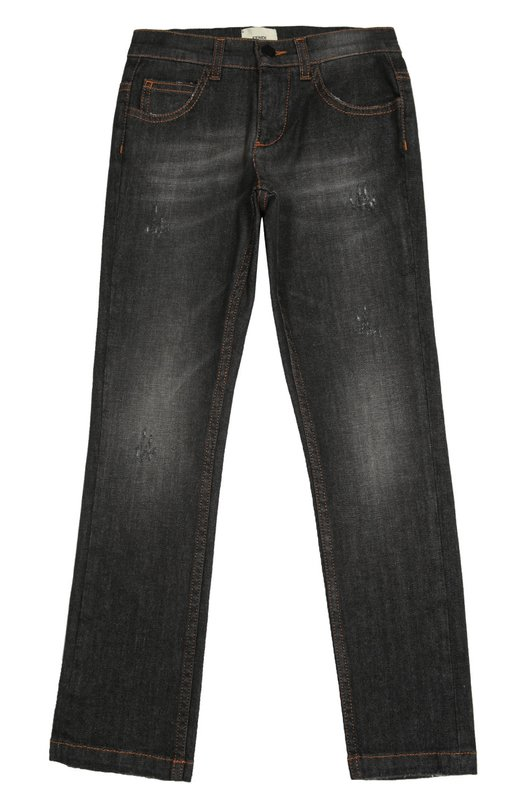 Джинсы прямого кроя с потертостями Fendi RomaДжинсы<br>Мастера бренда выполнили джинсы прямого кроя из плотного гладкого хлопка с добавлением эластичных нитей, благодаря котором изделие меньше вытягивается на коленках. Модель с декоративными потертостями вошла в осенне-зимнюю коллекцию 2016 года.<br><br>Размер Years: 6<br>Пол: Мужской<br>Возраст: Детский<br>Размер производителя vendor: 116-122cm<br>Материал: Хлопок: 98%; Эластан: 2%;<br>Цвет: Темно-серый