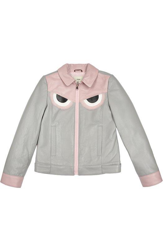 Кожаная куртка с меховой отделкой Fendi Roma JFA038/I74/6-8