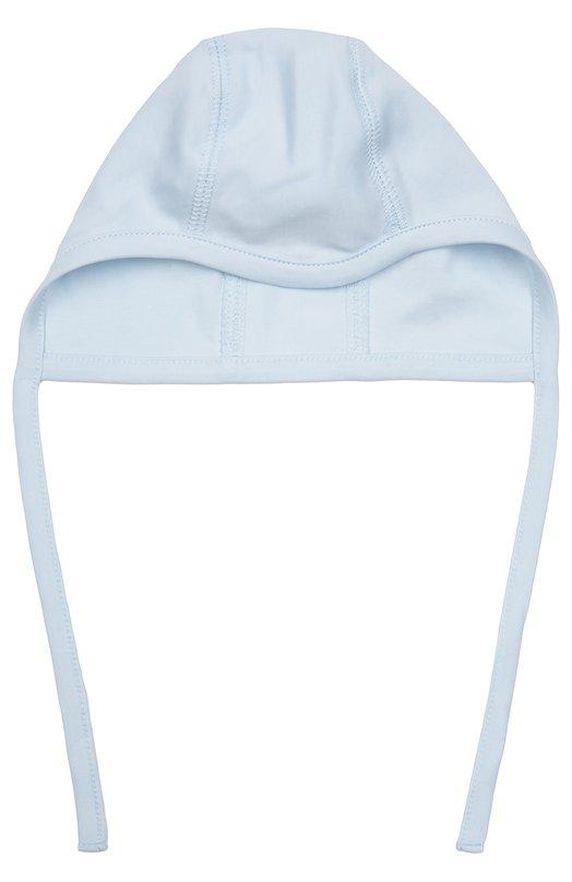 Хлопковая шапка с завязками Kissy KissyАксессуары<br>Для создания шапки мастера марки использовали мягкий хлопок голубого цвета. Трикотажный чепчик с плоскими эластичными швами, которые не впиваются в кожу, вошел в коллекцию сезона осень-зима 2016 года. Модель завязывается на узкие ленты.<br><br>Размер Months: 0<br>Пол: Женский<br>Возраст: Для малышей<br>Размер производителя vendor: 50cm<br>Материал: Хлопок: 100%;<br>Цвет: Голубой
