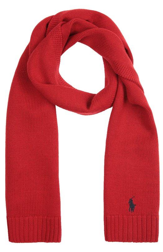 Вязаный шарф из шерсти с вышивкой Polo Ralph LaurenШарфы<br>Мастера бренда связали шарф красного цвета из приятной на ощупь итальянской пряжи из шерсти мериноса. Аксессуар из осенне-зимней коллекции 2016 года декорирован контрастной вышивкой в виде эмблемы марки. Длины хватает, чтобы завязать классический узел.<br><br>Пол: Женский<br>Возраст: Детский<br>Размер производителя vendor: NS<br>Материал: Шерсть: 100%;<br>Цвет: Красный
