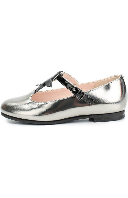 Туфли из металлизированной кожи с аппликацией Il Gufo G363/TISSUE + LEATHER/27-30