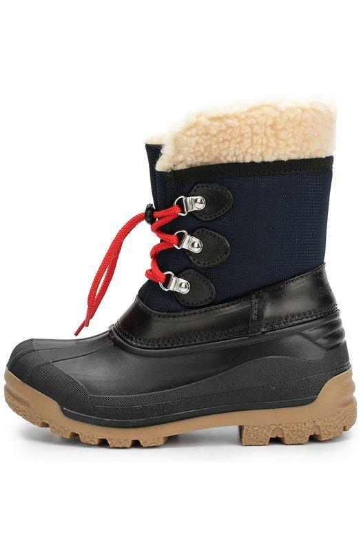 Комбинированные сапоги на шнуровке Dsquared2Сапоги<br>В коллекцию сезона осень-зима 2016 года вошли сапоги, которые фиксируются на ноге при помощи контрастной шнуровки, продетой через навесные люверсы. Голенище изготовлено из прочного синего текстиля, основа обуви – из мягкой черной резины. Обувь на широкой подошве с протектором утеплена овчиной.<br><br>Российский размер RU: 32<br>Пол: Женский<br>Возраст: Детский<br>Размер производителя vendor: 32<br>Материал: Подошва-резина: 100%; Отделка кожа натуральная: 100%; Текстиль: 100%; Стелька-овчина: 100%;<br>Цвет: Синий