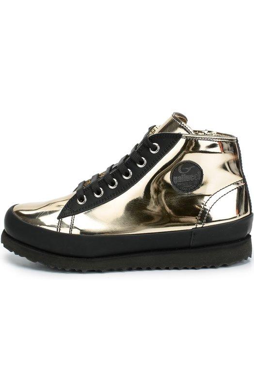 Кеды из металлизированной кожи GallucciСпортивная обувь<br>Золотистые кеды на молнии сшиты вручную из гладкой кожи с зеркальной поверхностью. Гибкая легкая подошва дополнена внутренней пробковой прослойкой, благодаря которой обувь принимает форму стопы. Модель вошла в осенне-зимнюю коллекцию 2016 года.<br><br>Российский размер RU: 40<br>Пол: Женский<br>Возраст: Детский<br>Размер производителя vendor: 40<br>Материал: Кожа натуральная: 100%; Стелька-кожа: 100%; Подошва-резина: 100%;<br>Цвет: Золотой