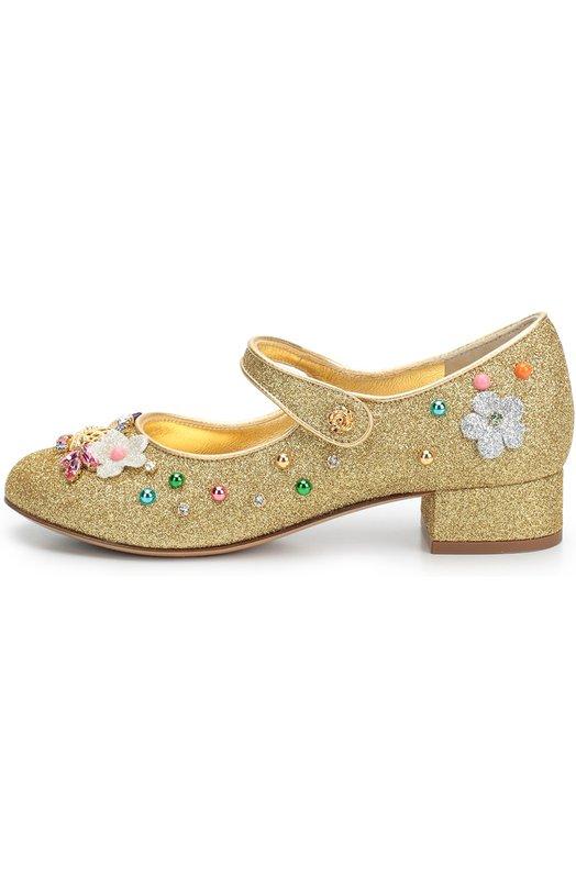 Туфли с глиттером и декором Dolce &amp; GabbanaБалетки<br>Золотистые туфли сшиты из прочного мягкого материала, покрытого глиттером. Модель из осенне-зимней коллекции 2016 года украшена текстильными цветами и металлическими фигурами, а также разноцветными бусинами и стразами разной формы и цвета.<br><br>Российский размер RU: 31<br>Пол: Женский<br>Возраст: Детский<br>Размер производителя vendor: 31<br>Материал: Стелька-кожа: 100%; Подошва-кожа: 100%; Подошва-резина: 100%; Текстиль: 100%;<br>Цвет: Золотой