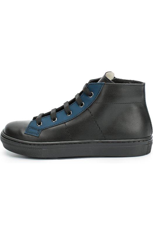 Высокие кожаные кеды с цветной вставкой GallucciСпортивная обувь<br>Мастера бренда выполнили черные кеды на широкой резиновой подошве из мягкой гладкой кожи. Модель с синими вставками вдоль шнуровки вошла в осенне-зимнюю коллекцию 2016 года. Обувь застегивается на боковую молнию.<br><br>Российский размер RU: 35<br>Пол: Мужской<br>Возраст: Детский<br>Размер производителя vendor: 35<br>Материал: Кожа натуральная: 100%; Стелька-кожа: 100%; Подошва-резина: 100%;<br>Цвет: Черный