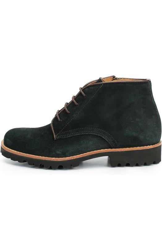 Замшевые ботинки на шнуровке GallucciБотинки<br>Дизайнеры бренда выбрали для производства темно-зеленых ботинок с контрастными рантом мягкую бархатистую замшу. Модель на невысоком каблуке вошла в коллекцию сезона осень-зима 2016 года. Обувь застегивается на молнию.<br><br>Российский размер RU: 35<br>Пол: Мужской<br>Возраст: Детский<br>Размер производителя vendor: 35<br>Материал: Стелька-кожа: 100%; Подошва-резина: 100%; Замша натуральная: 100%;<br>Цвет: Зеленый