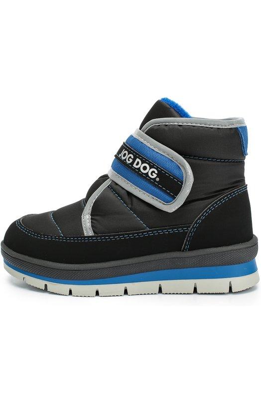 Текстильные ботинки с застежкой велькро Jog DogБотинки<br>Синие ботинки вошли в осенне-зимнюю коллекцию 2016 года. Модель на легкой подошве из прочной резины выполнена из водоотталкивающего материала. Трехслойный утеплитель состоит из полиуретана, впитывающего влагу, отражающей тепло фольги и текстиля, выводящего влагу через микроотверстия.<br><br>Российский размер RU: 24<br>Пол: Мужской<br>Возраст: Детский<br>Размер производителя vendor: 24<br>Материал: Подошва-резина: 100%; Текстиль: 100%; Стелька-текстиль: 100%;<br>Цвет: Синий