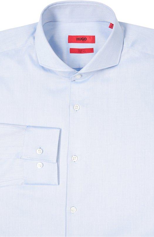 Хлопковая приталенная сорочка с воротником акула HUGO 50307964