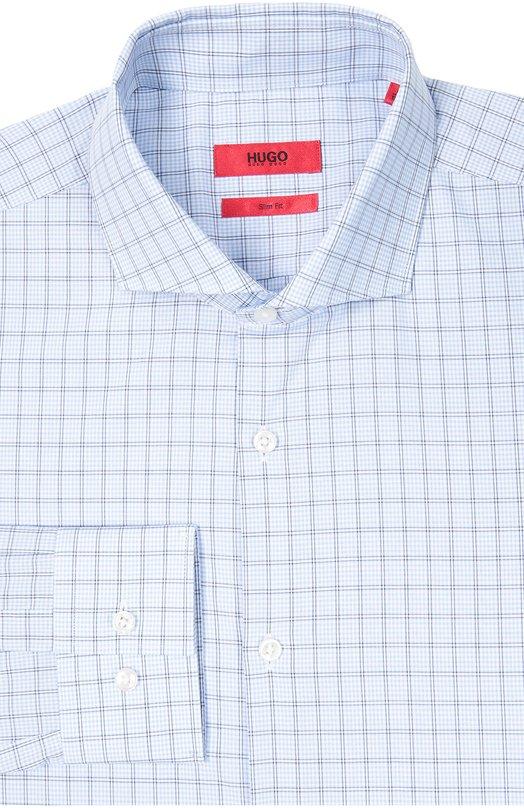 Хлопковая приталенная сорочка с воротником акула HUGO 50320850