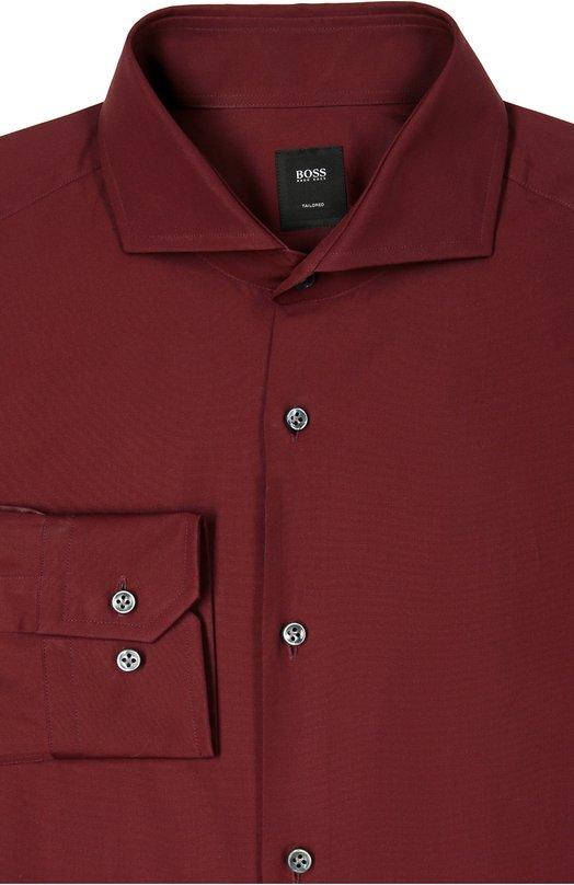 Хлопковая сорочка с воротником акула BOSSРубашки<br>Приталенная рубашка бордового цвета вошла в осенне-зимнюю коллекцию сезона осень-зима 2016 года. Модель с длинными рукавами и воротником акула застегивается на темные пуговицы. Нашим стилистам нравится сочетать с темными брюками, кардиганом и коричневыми монками.<br><br>Российский размер RU: 39<br>Пол: Мужской<br>Возраст: Взрослый<br>Размер производителя vendor: 39<br>Материал: Хлопок: 100%;<br>Цвет: Кирпичный