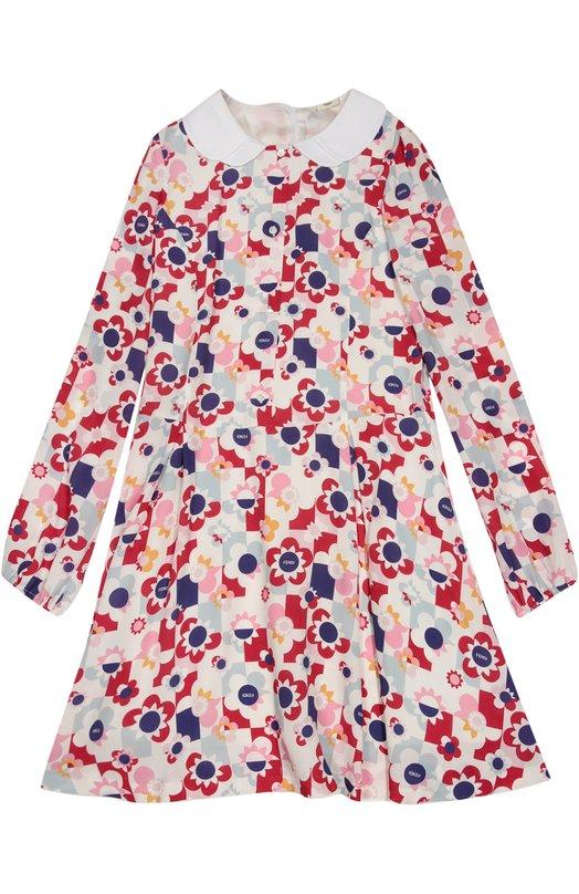 Платье А-образного силуэта с принтом Fendi RomaПлатья<br>Платье из мягкого крепа с контрастным цветочным принтом дополнено двойным отложным воротником из гладкого белого хлопка. Модель с длинными рукавами и круглым вырезом вошла в коллекцию сезона осень-зима 2016 года. Лиф, дополненный планкой с пуговицами, застегивается на потайную молнию сзади.<br><br>Размер Years: 12<br>Пол: Женский<br>Возраст: Детский<br>Размер производителя vendor: 146-152cm<br>Материал: Подкладка-ацетат: 64%; Подкладка-купра: 36%; Отделка-хлопок: 100%; Вискоза: 100%;<br>Цвет: Розовый