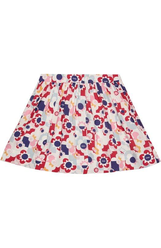 Расклешенная юбка с принтом Fendi Roma JFE010/7AW/6-8