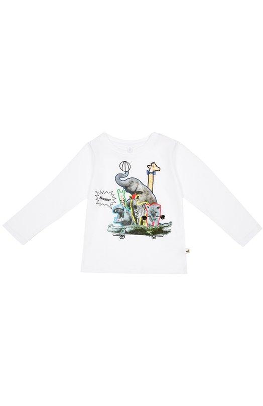 Лонгслив из биохлопка с принтом Stella McCartneyФутболки<br>Яркий принт в виде коллажа из фотографий и рисунков животных украшает белый лонгслив из коллекции сезона осень-зима 2016 года. Стелла Маккартни выбрала для создания футболки с длинными рукавами и круглым вырезом мягкий органический хлопок, который не вызывает раздражения кожи.<br><br>Размер Years: 3<br>Пол: Женский<br>Возраст: Детский<br>Размер производителя vendor: 98-104cm<br>Материал: Хлопок: 100%;<br>Цвет: Белый
