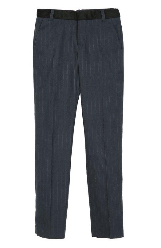 Шерстяные брюки прямого кроя в полоску Marc JacobsБрюки<br>Марк Джейкобс включил синие брюки прямого кроя, со стрелками в коллекцию сезона осень-зима 2016 года. Для изготовления модели мастера бренда использовали мягкую полушерстяную ткань стрейч в тонкую полоску.<br><br>Размер Years: 6<br>Пол: Мужской<br>Возраст: Детский<br>Размер производителя vendor: 116-122cm<br>Материал: Отделка-шерсть: 80%; Шерсть: 65%; Вискоза: 33%; Отделка-полиамид: 20%; Эластан: 2%;<br>Цвет: Синий