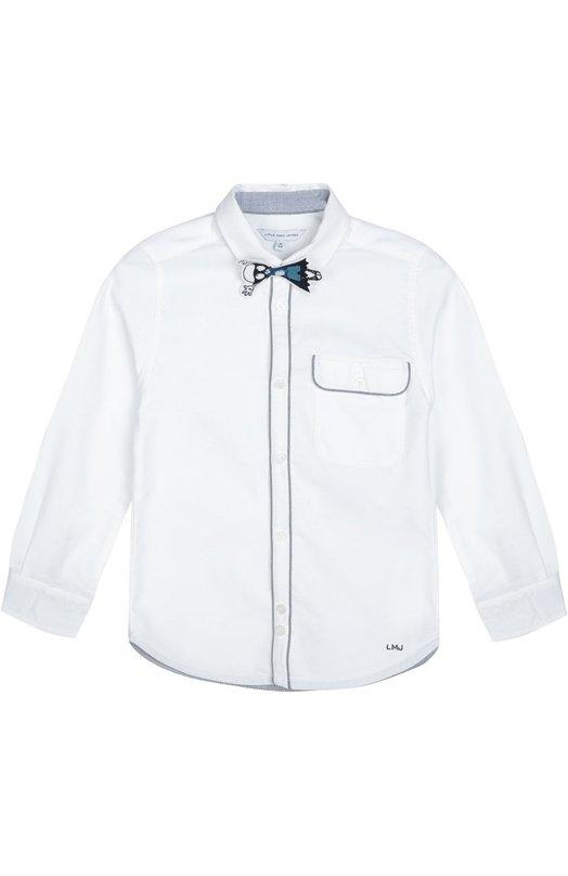 Хлопковая рубашка со съемной нашивкой Marc JacobsРубашки<br>Марк Джейкобс включил белую рубашку из мягкого хлопка оксфорд в осенне-зимнюю коллекцию 2016 года. Модель с длинными рукавами дополнена съемным галстуком-бабочкой в виде фигурки Superhero Mr Marc. Планка и клапан нагрудного кармана прошиты контрастной нитью.<br><br>Размер Years: 8<br>Пол: Мужской<br>Возраст: Детский<br>Размер производителя vendor: 128-134cm<br>Материал: Хлопок: 100%;<br>Цвет: Белый
