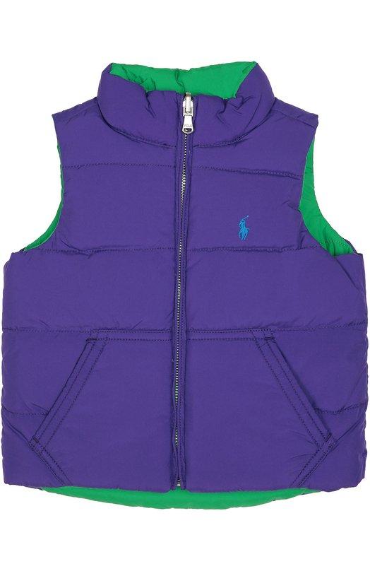 Стеганый пуховый жилет на молнии Polo Ralph LaurenВерхняя одежда<br>Утепленный фиолетовый жилет на ярко-зеленой подкладке вошел в коллекцию сезона осень-зима 2016 года. Для создания модели был использован прочный полиэстер. На груди вышит игрок в поло. Впервые Ральф Лорен использовал этот рисунок в качестве декора в 1967 году.<br><br>Размер Years: 2<br>Пол: Женский<br>Возраст: Детский<br>Размер производителя vendor: 92-98cm<br>Материал: Пух: 75%; Перо: 25%; Полиэстер: 100%; Подкладка-полиэстер: 100%;<br>Цвет: Фиолетовый