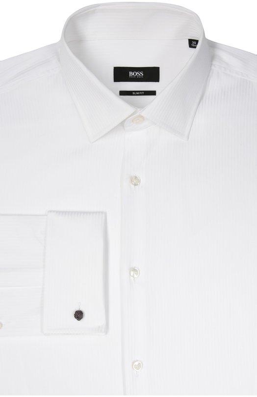Хлопковая сорочка с воротником кент и французскими манжетами BOSS 50322479