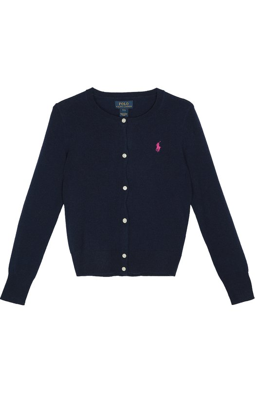Шерстяной кардиган с вышитым логотипом бренда Polo Ralph LaurenКардиганы<br>Темно-синий кардиган с круглым вырезом и длинными рукавами выполнен из приятной на ощупь шерсти. Модель из коллекции сезона осень-зима2016 года, декорированная вышивкой в виде эмблемы бренда, застегивается на контрастные пуговицы.<br><br>Размер Years: 16<br>Пол: Женский<br>Возраст: Детский<br>Размер производителя vendor: 164cm<br>Материал: Шерсть: 100%;<br>Цвет: Синий