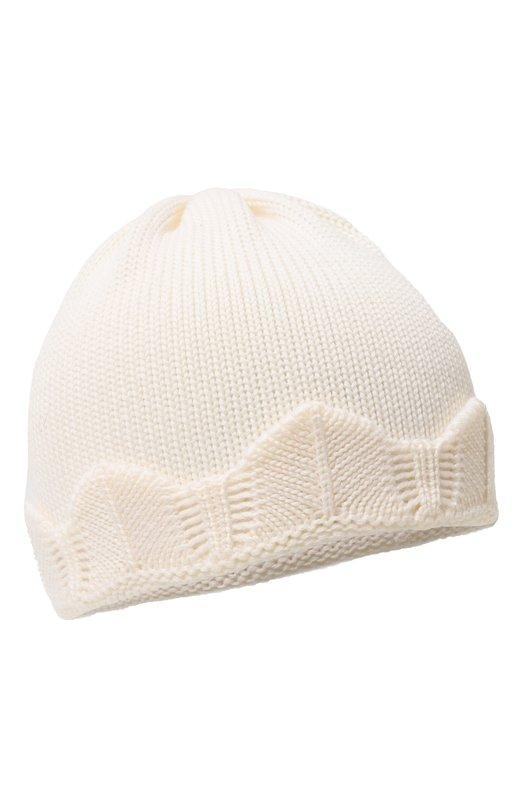 Вязаная шапка с декоративной отделкой CatyaАксессуары<br>Дизайнеры бренда выбрали для производства белой шапки мягкую гладкую шерсть мериноса, хорошо сохраняющую тепло и пропускающую воздух. Поэтому голова не вспотеет. Модель с широким отворотом, декорированным фактурной вязкой, вошла в коллекцию сезона осень-зима 2016 года.<br><br>Размер Months: 5<br>Пол: Женский<br>Возраст: Для малышей<br>Размер производителя vendor: V<br>Материал: Шерсть меринос: 100%;<br>Цвет: Белый