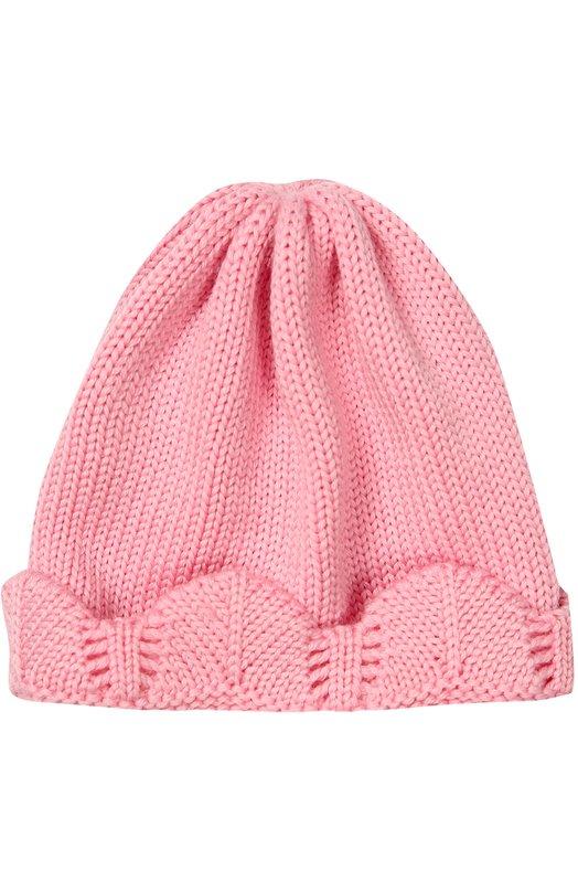 Вязаная шапка с декоративной отделкой CatyaАксессуары<br>Дизайнеры бренда включили розовую шапку, связанную вручную, в коллекцию сезона осень-зима 2016 года. Модель с широким фактурным отворотом выполнена из мягкой, приятной на ощупь шерсти мериноса, хорошо пропускающей воздух и сохраняющей тепло. Поэтому голова не вспотеет.<br><br>Размер Months: 3<br>Пол: Женский<br>Возраст: Для малышей<br>Размер производителя vendor: III<br>Материал: Шерсть меринос: 100%;<br>Цвет: Розовый