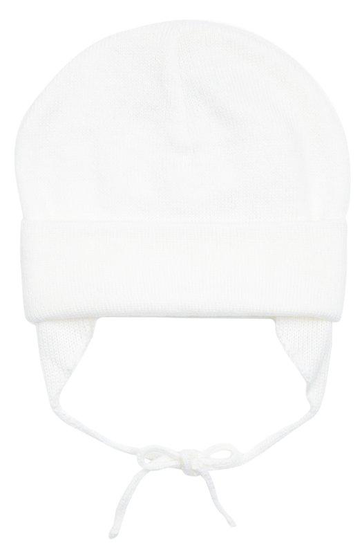 Вязаная шапка из шерсти Il TreninoАксессуары<br>Белая шапка с отворотом вошла в коллекцию сезона осень-зима 2016 года. Модель, связанная из мягкой, приятной на ощупь шерстяной пряжи, завязывается под подбородком. Боковые вставки защищают уши от ветра и холода.<br><br>Размер Months: 2<br>Пол: Женский<br>Возраст: Для малышей<br>Размер производителя vendor: II<br>Материал: Шерсть: 100%;<br>Цвет: Белый
