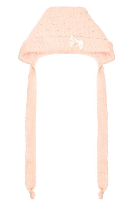 Вязаная шапка с бантом и стразами Il TreninoАксессуары<br>В осенне-зимнюю коллекцию 2016 года вошла розовая шапка, украшенная небольшим белым бантом и прозрачными стразами. Изделие выполнено из ультрамягкой и тонкой шерстяной пряжи на собственной фабрике бренда в Италии. Аксессуар, дополненный отворотом, завязывается под подбородком.<br><br>Размер Months: 3<br>Пол: Женский<br>Возраст: Для малышей<br>Размер производителя vendor: III<br>Материал: Шерсть: 100%;<br>Цвет: Розовый