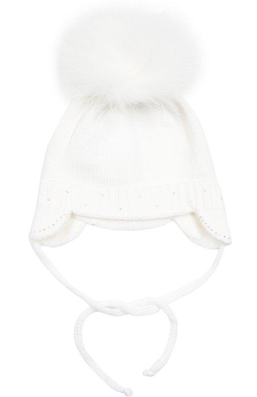 Вязаная шапка с помпоном и стразами Il TreninoАксессуары<br>В осенне-зимнюю коллекцию 2016 года вошла белая шапка из мягкой плотной шерсти. Вязаный аксессуар дополнен меховым помпоном, окрашенным в тон изделию. Модель дополнена удлиненными наушниками, защищающими уши от ветра и холода. Головной убор завязывается под подбородком.<br><br>Размер Months: 2<br>Пол: Женский<br>Возраст: Для малышей<br>Размер производителя vendor: II<br>Материал: Шерсть: 100%;<br>Цвет: Белый