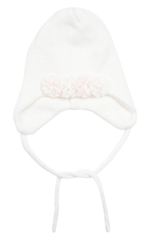 Вязаная шапка с декором Il TreninoАксессуары<br>Для создания белой шапки из осенне-зимней коллекции 2016 года была использована мягкая и тонкая шерсть.  Двухслойная модель украшена аппликацией в виде цветов, созданной из кружева и бусин. Изделие завязывается под подбородком.<br><br>Размер Months: 3<br>Пол: Женский<br>Возраст: Для малышей<br>Размер производителя vendor: III<br>Материал: Шерсть: 100%;<br>Цвет: Белый