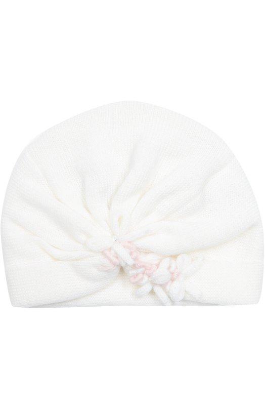 Вязаная шапка с декором Il TreninoАксессуары<br>Белая шапка, украшенная драпировкой, аппликацией в виде цветов и стразами, вошла в коллекцию сезона осень-зима 2016 года. Плотно облегающий голову аксессуар с нешироким отворотом произведен из тонкой и мягкой шерсти.<br><br>Размер Months: 1<br>Пол: Женский<br>Возраст: Для малышей<br>Размер производителя vendor: I<br>Материал: Шерсть: 100%;<br>Цвет: Белый