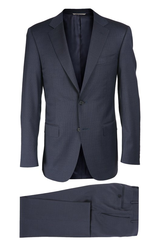 Шерстяной приталенный костюм CanaliКостюмы<br>В осенне-зимнюю коллекцию 2016 года вошел темно-синий костюм. Мастера бренда, основанного Джованни и Джакомо Канали, выбрали для создания модели фактурную шерстяную ткань в мелкую клетку. Однобортный приталенный пиджак дополнен зауженными брюками со стрелками.<br><br>Российский размер RU: 58<br>Пол: Мужской<br>Возраст: Взрослый<br>Размер производителя vendor: 56-R<br>Материал: Шерсть: 100%; Подкладка-купра: 100%;<br>Цвет: Темно-синий