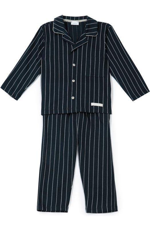 Хлопковая пижама в полоску GrigioperlaБельё<br>В осенне-зимнюю коллекцию 2016 года вошла синяя пижама из мягкого хлопка в тонкую белую полоску.  Рубашка с длинными рукавами, отложным воротником и небольшими лацканами дополнена накладным карманом. В комплекте – брюки прямого кроя.<br><br>Размер Years: 3<br>Пол: Мужской<br>Возраст: Детский<br>Размер производителя vendor: 98-104cm<br>Материал: Хлопок: 96%; Полиэстер: 4%;<br>Цвет: Темно-синий